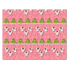 Christmas Angels  Rectangular Jigsaw Puzzl by Valentinaart