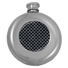 Scales1 Black Marble & Silver Paint (r) Round Hip Flask (5 Oz) by trendistuff