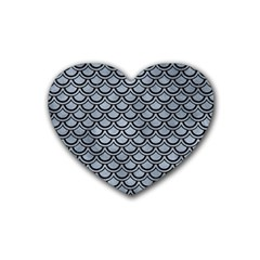 Scales2 Black Marble & Silver Paint Rubber Coaster (heart)  by trendistuff