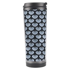 Scales3 Black Marble & Silver Paint Travel Tumbler by trendistuff