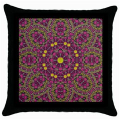 Butterflies  Roses In Gold Spreading Calm And Love Throw Pillow Case (black) by pepitasart