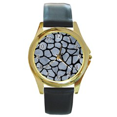 Skin1 Black Marble & Silver Paint (r) Round Gold Metal Watch