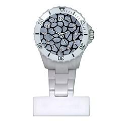 Skin1 Black Marble & Silver Paint (r) Plastic Nurses Watch by trendistuff