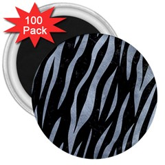 Skin3 Black Marble & Silver Paint (r) 3  Magnets (100 Pack) by trendistuff