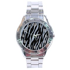 Skin3 Black Marble & Silver Paint (r) Stainless Steel Analogue Watch by trendistuff