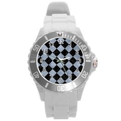 Square2 Black Marble & Silver Paint Round Plastic Sport Watch (l) by trendistuff