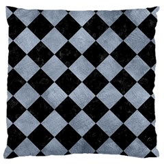 Square2 Black Marble & Silver Paint Large Cushion Case (two Sides) by trendistuff