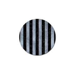 Stripes1 Black Marble & Silver Paint Golf Ball Marker by trendistuff
