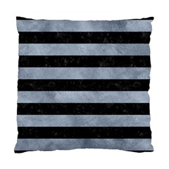 Stripes2 Black Marble & Silver Paint Standard Cushion Case (two Sides) by trendistuff
