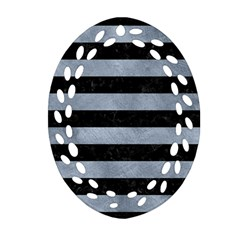 Stripes2 Black Marble & Silver Paint Oval Filigree Ornament (two Sides) by trendistuff