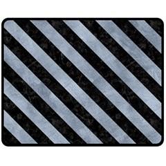 Stripes3 Black Marble & Silver Paint Double Sided Fleece Blanket (medium)  by trendistuff