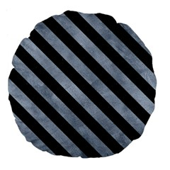Stripes3 Black Marble & Silver Paint Large 18  Premium Flano Round Cushions by trendistuff