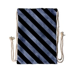 Stripes3 Black Marble & Silver Paint Drawstring Bag (small) by trendistuff