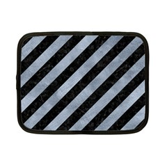 Stripes3 Black Marble & Silver Paint (r) Netbook Case (small)  by trendistuff