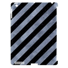 Stripes3 Black Marble & Silver Paint (r) Apple Ipad 3/4 Hardshell Case (compatible With Smart Cover) by trendistuff