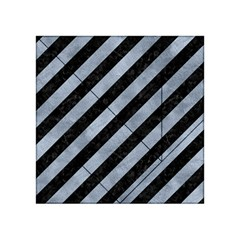 Stripes3 Black Marble & Silver Paint (r) Acrylic Tangram Puzzle (4  X 4 ) by trendistuff