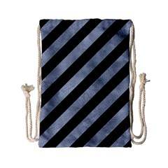Stripes3 Black Marble & Silver Paint (r) Drawstring Bag (small) by trendistuff