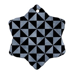 Triangle1 Black Marble & Silver Paint Snowflake Ornament (two Sides) by trendistuff