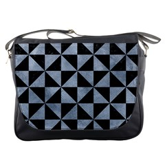 Triangle1 Black Marble & Silver Paint Messenger Bags by trendistuff