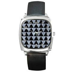 Triangle2 Black Marble & Silver Paint Square Metal Watch by trendistuff