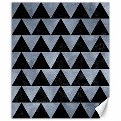 Triangle2 Black Marble & Silver Paint Canvas 8  X 10  by trendistuff