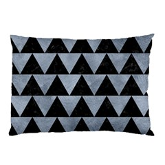 Triangle2 Black Marble & Silver Paint Pillow Case (two Sides) by trendistuff