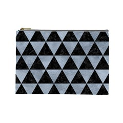 Triangle3 Black Marble & Silver Paint Cosmetic Bag (large)  by trendistuff