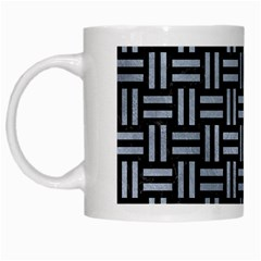 Woven1 Black Marble & Silver Paint (r) White Mugs by trendistuff