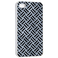 Woven2 Black Marble & Silver Paint Apple Iphone 4/4s Seamless Case (white) by trendistuff