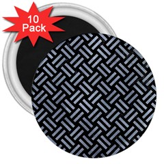 Woven2 Black Marble & Silver Paint (r) 3  Magnets (10 Pack)  by trendistuff