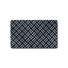 Woven2 Black Marble & Silver Paint (r) Magnet (name Card) by trendistuff