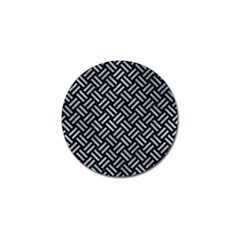 Woven2 Black Marble & Silver Paint (r) Golf Ball Marker by trendistuff