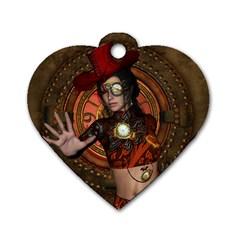 Steampunk, Wonderful Steampunk Lady Dog Tag Heart (one Side) by FantasyWorld7