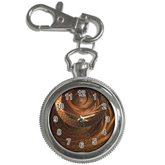 Brown, Bronze, Wicker, And Rattan Fractal Circles Key Chain Watches by jayaprime