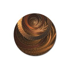 Brown, Bronze, Wicker, And Rattan Fractal Circles Magnet 3  (round) by jayaprime