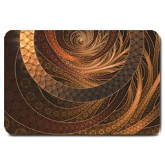 Brown, Bronze, Wicker, And Rattan Fractal Circles Large Doormat  by jayaprime