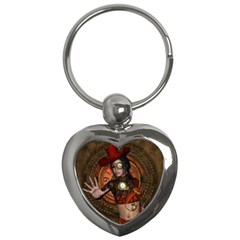 Steampunk, Wonderful Steampunk Lady Key Chains (heart)  by FantasyWorld7