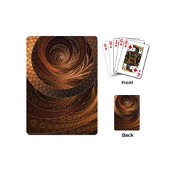 Brown, Bronze, Wicker, And Rattan Fractal Circles Playing Cards (mini)  by jayaprime