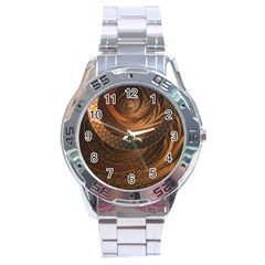Brown, Bronze, Wicker, And Rattan Fractal Circles Stainless Steel Analogue Watch by jayaprime