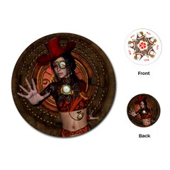 Steampunk, Wonderful Steampunk Lady Playing Cards (round)  by FantasyWorld7