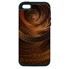 Brown, Bronze, Wicker, And Rattan Fractal Circles Apple Iphone 5 Hardshell Case (pc+silicone) by beautifulfractals