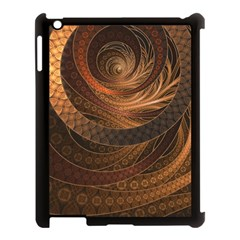 Brown, Bronze, Wicker, And Rattan Fractal Circles Apple Ipad 3/4 Case (black) by jayaprime