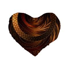 Brown, Bronze, Wicker, And Rattan Fractal Circles Standard 16  Premium Heart Shape Cushions by jayaprime