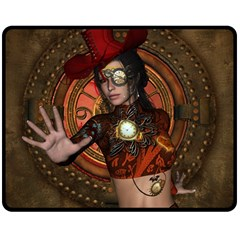 Steampunk, Wonderful Steampunk Lady Double Sided Fleece Blanket (medium)  by FantasyWorld7