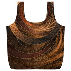 Brown, Bronze, Wicker, And Rattan Fractal Circles Full Print Recycle Bags (l)  by jayaprime