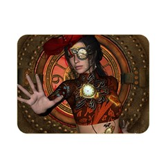 Steampunk, Wonderful Steampunk Lady Double Sided Flano Blanket (mini)  by FantasyWorld7
