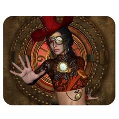 Steampunk, Wonderful Steampunk Lady Double Sided Flano Blanket (medium)  by FantasyWorld7