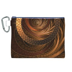 Brown, Bronze, Wicker, And Rattan Fractal Circles Canvas Cosmetic Bag (xl) by beautifulfractals