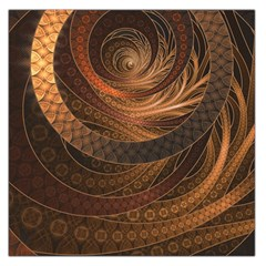 Brown, Bronze, Wicker, And Rattan Fractal Circles Large Satin Scarf (square) by beautifulfractals