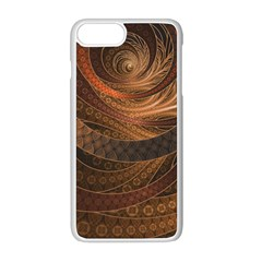 Brown, Bronze, Wicker, And Rattan Fractal Circles Apple Iphone 8 Plus Seamless Case (white) by jayaprime